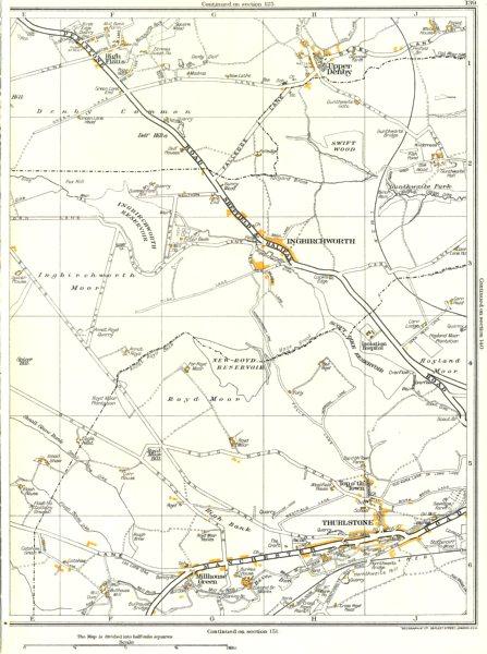 Associate Product YORKS.Ingbirchworth,Thurlstone,Upper Denby,Penistone,Millhouse Green 1935 map
