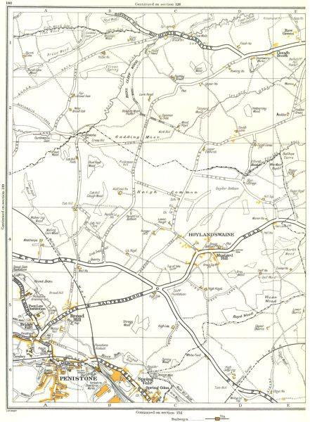 Associate Product YORKS.Penistone,Hoylandswaine,Mustard Hill,Clough Green,Raw,Cawthorne 1935 map