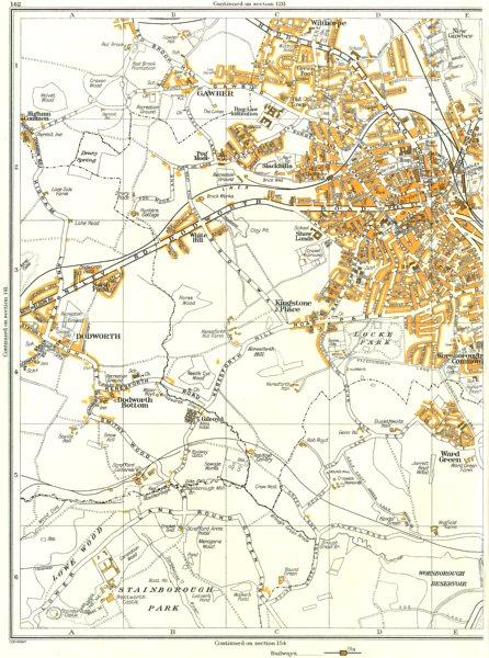 Associate Product BARNSLEY.Dodworth,Worsborough,Ward Gn,Kingstone,Gawber,Keresforth Hill 1935 map