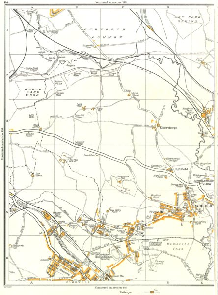 Associate Product DARFIELD.Low Valley,Snape Hill,Edderthorpe,Cudworth,Wombwell,Ardsley 1935 map