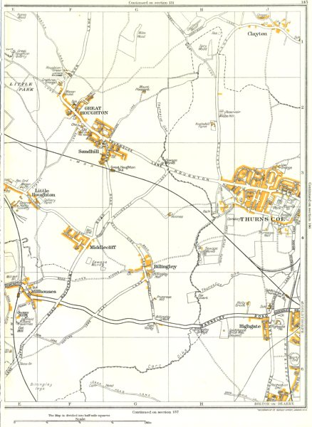 Associate Product THURNSCOE.Clayton,Billingley,Middlecliffe,Great Houghton,Goldthorpe 1935 map