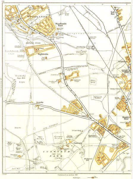 Associate Product BENTLEY.Woodlands,Aldwick le Street,Cusworth,Scawthorpe,Toll Bar 1935 old map