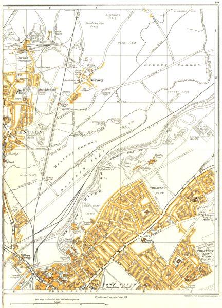 Associate Product DONCASTER.Bentley,Intake,Willow Bridge,Wheatley Hills,Arksey 1935 old map