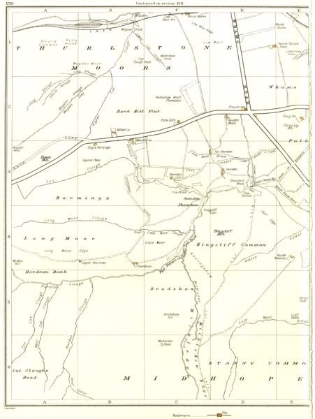 Associate Product YORKSHIRE.Thurlestone Midhope Barnside Moors,Ecklands,Flouch Inn 1935 old map