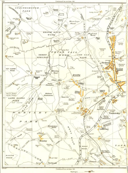 Associate Product YORKSHIRE.Birdwell,Pilley,Hermit Hill,Bromley,Broom Royd Wd,Tankersley 1935 map