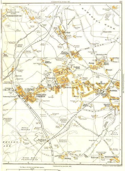 Associate Product HOYLAND.Harley,Platts Common,Worsborough,Elsecar,Blacker Hill,Stubbin 1935 map