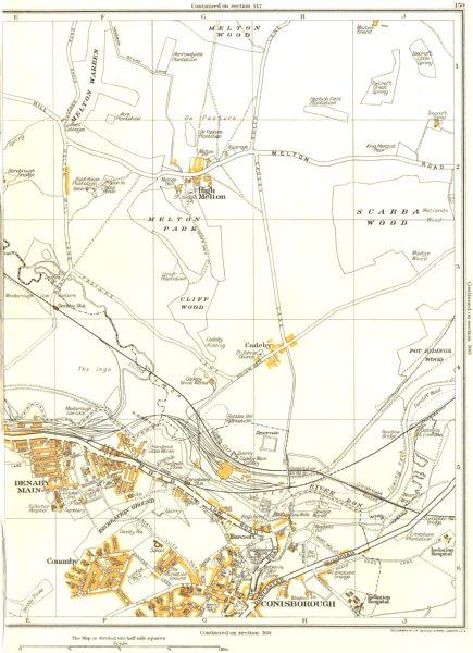 Associate Product CONISBOROUGH.Denaby Main,Conanby,Spotbrough,Cadeby,High Melton 1935 old map