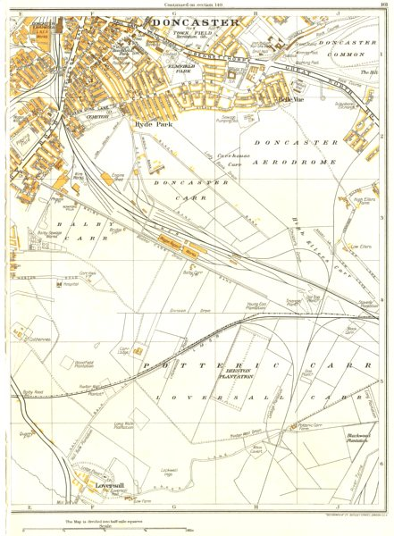 Associate Product DONCASTER.Doncaster Carr,Hyde Park,Pottering Carr,Balby Carr,Loversall 1935 map