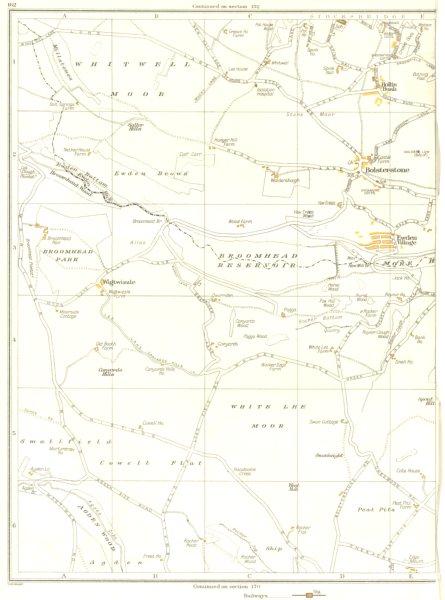 Associate Product YORKS.Bolstrestone,Stocksbridge,Broomhead,Ewden Village,Hollin Busk 1935 map