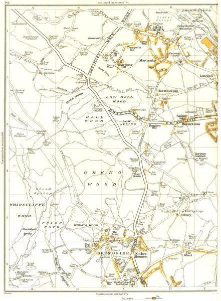 Associate Product HIGH GREEN.Grenoside,Chapeltown,Burncross,Mortomley,Charltonbrook 1935 old map