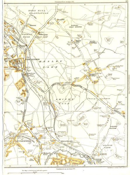 Associate Product CHAPELTOWN.Shiregreen,Ecclesfield,Thorpe Hesley,Grange Park,Hood Hill 1935 map