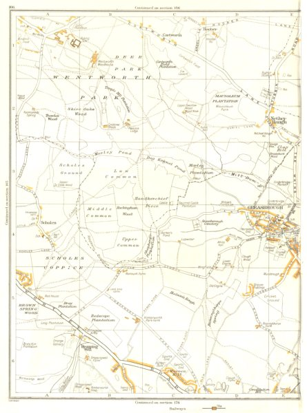 Associate Product ROTHERHAM.Greasebrough,Wingfield,Kimberworth Park,Nether Haugh 1935 old map