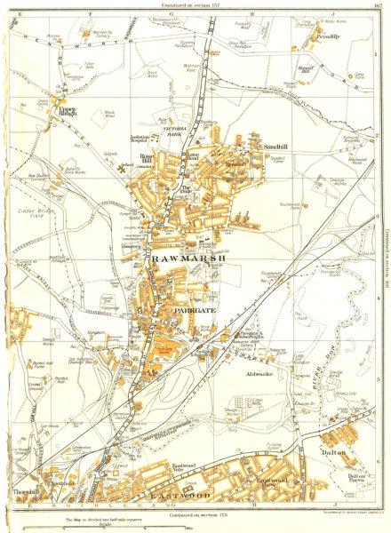 Associate Product RAWMARSH.Kilnhurst,Dalton,Eastwood,Upper Haugh,Parkgate,Thrybergh 1935 old map