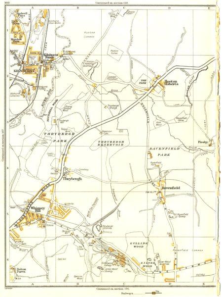 Associate Product THRYBERGH.Dalton,Kilnhurst,Whinney Hill,Ravenfield,Hooton Roberts 1935 old map