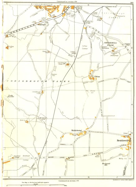 Associate Product YORKSHIRE.Conisbrough Parks,Crookhill,Micklebring,Braithwell,Clifton 1935 map