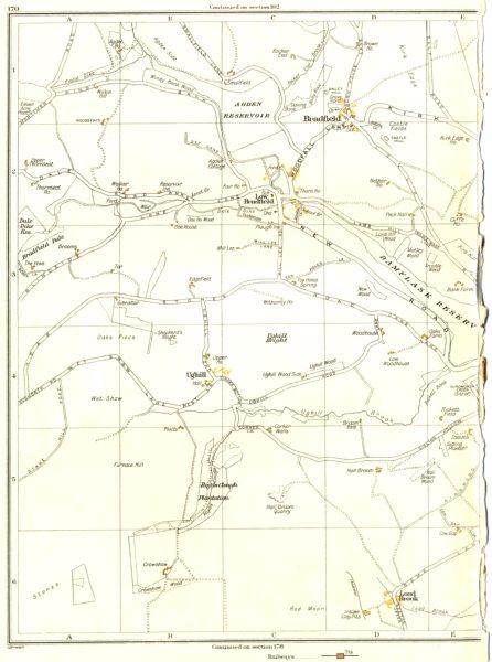 YORKSHIRE.High Bradfield,Low Bradfield,Ughill,Load Brook,Wet Shaw 1935 old map