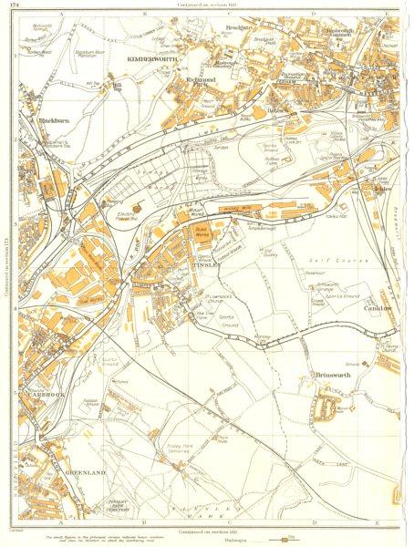 Associate Product ROTHERHAM SHEFFIELD.Brinsworth,Masbrough,Tinsley,Kimberworth,Carbrook 1935 map