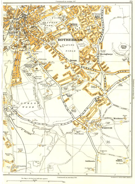 Associate Product ROTHERHAM.Canklow,Whiston,Catcliffe,Herringthorpe,Clifton,Moorgate 1935 map