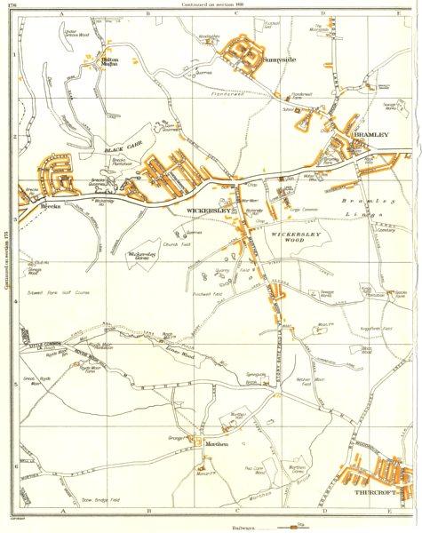 Associate Product ROTHERHAM.Morthen,Wickersley,Bramley,Thurcroft,Sunnyside,Listerdale 1935 map