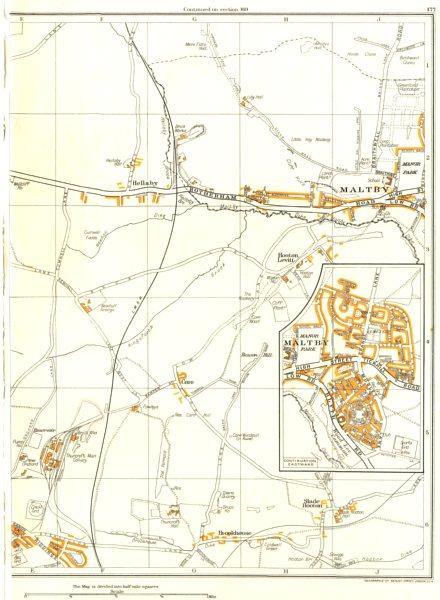 Associate Product MALTBY.Brookhouse,Hellaby,Carr,Hooton Levitt,Thurcroft,Bramley 1935 old map