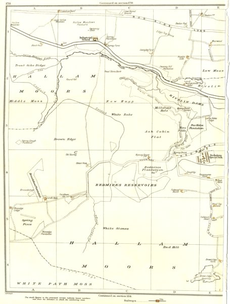 Associate Product YORKSHIRE.Hallam Moors,Redmires reservoir,Swinglee Ford,Hollow Meadows 1935 map