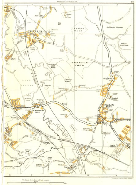 Associate Product YORKS.Catcliffe,Treeton,Orgreave,Aughton,Swallownest,Woodhouse Mill 1935 map
