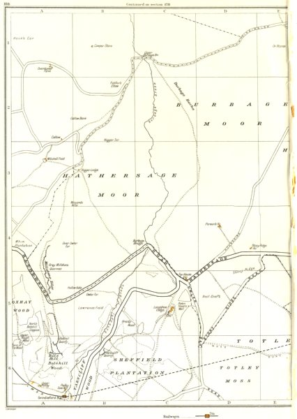 Associate Product YORKSHIRE.Grindleford,Burbage Hathersage Moors,Upper Padley,Oxhay Wood 1935 map