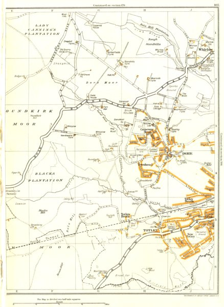Associate Product TOTLEY.Dore,New Totley,Townhead,Whirlow,Brick Houses,Houndkirk Moor 1935 map
