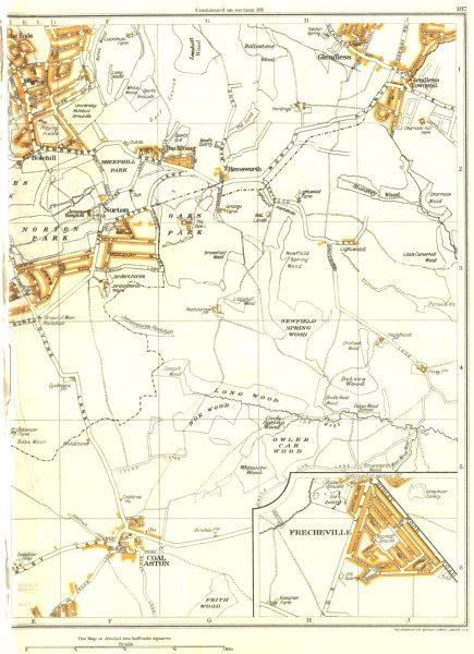 SHEFFIELD.Dronfield,Coal Aston,Frecheville,Gleadless,Norton Woodseats 1935 map