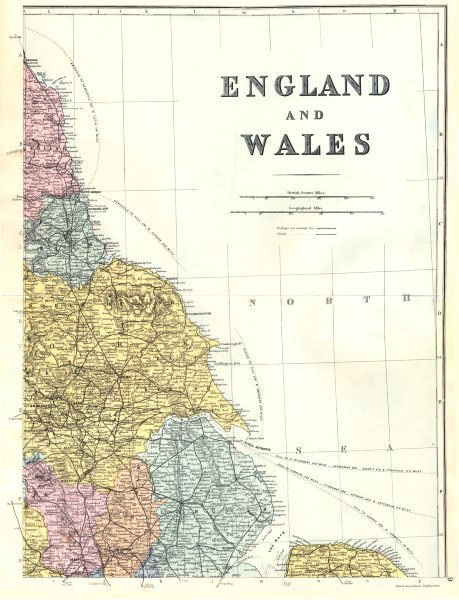 Associate Product ENGLAND. North-East sheet. Lincolnshire Yorkshire Wash. Bacon 1895 old map