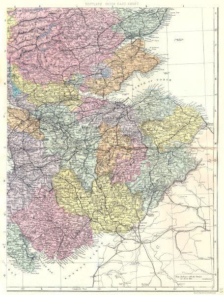 Associate Product SCOTLAND South East.Firth of Forth Tay Edinburgh Glasgow Borders.Bacon 1895 map