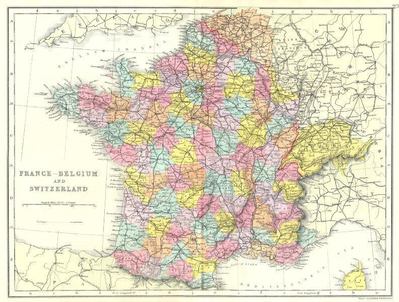 Associate Product FRANCE BELGIUM SWITZERLAND. France without Alsace Lorraine. Bacon 1895 old map