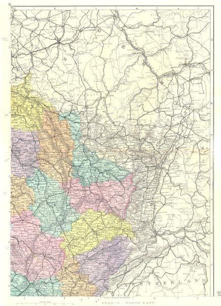 Associate Product FRANCE. North East sheet. Lorraine Franche-Comté Burgundy. Bacon 1895 old map