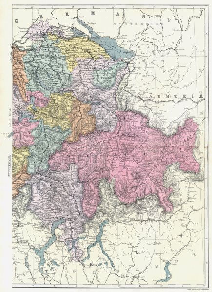 Associate Product SWITZERLAND. East sheet. Bacon 1895 old antique vintage map plan chart