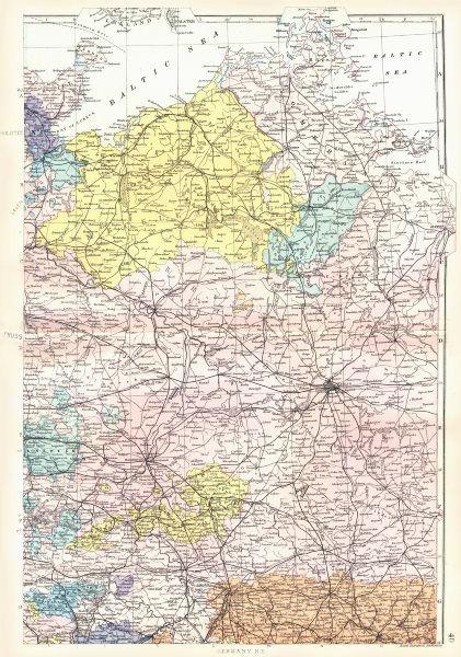 Associate Product German Empire N.Prussia Pomerania Mecklenburg Brandenburg Berlin.Bacon 1895 map