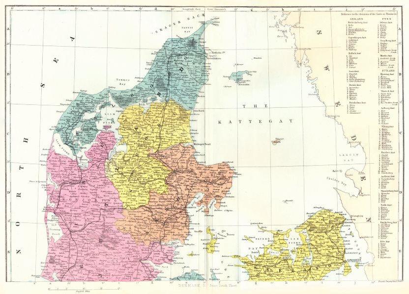 Associate Product DENMARK. North Sheet. Jutland Seeland. Bacon 1895 old antique map plan chart