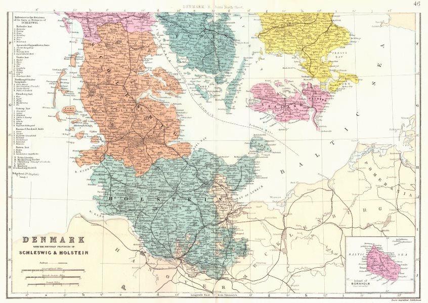 Associate Product DENMARK.South.Schleswig Holstein Bornholm Funen Laaland. Bacon 1895 old map