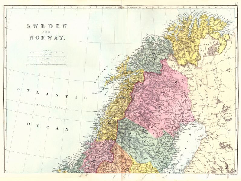 Associate Product SCANDINAVIA. Norway and Sweden North Sheet. North Cape. Bacon 1895 old map