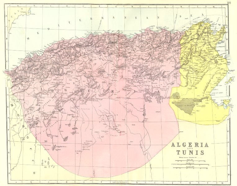 Associate Product ALGERIA TUNISIA. Algeria and Tunis. Bacon 1895 old antique map plan chart