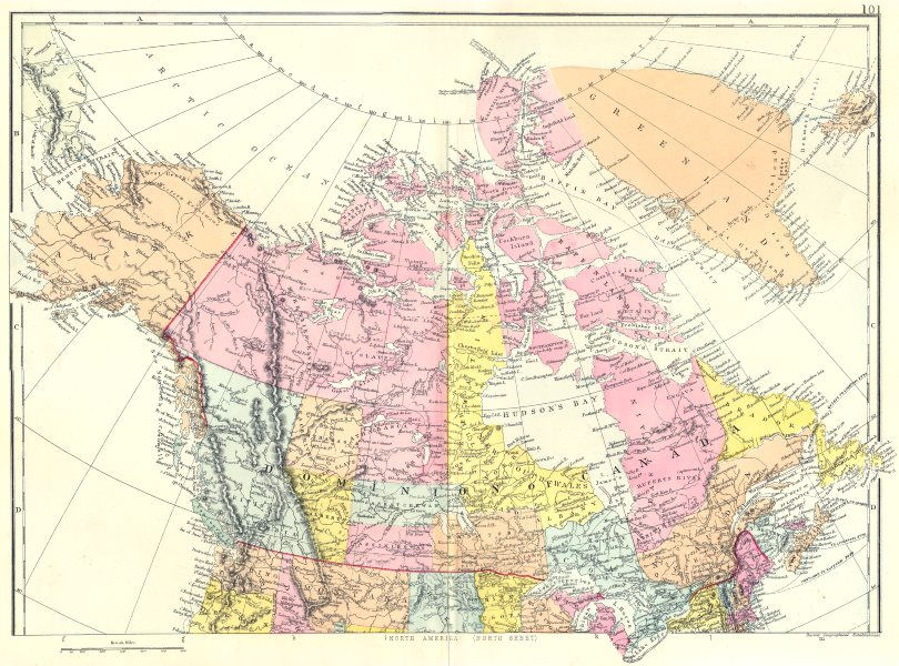 Associate Product CANADA. North America North sheet. Dominion of Canada Greenland. Bacon 1895 map
