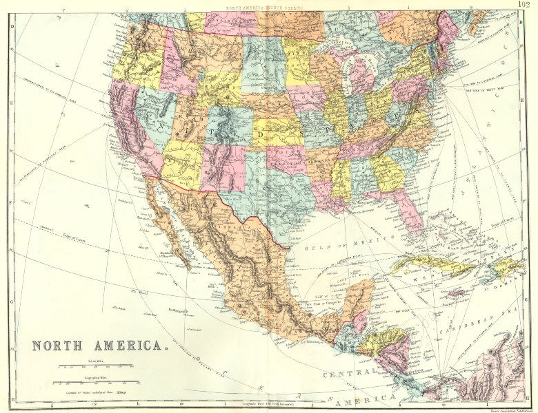 Associate Product USA CENTRAL AMERICA CARIBBEAN. North America South sheet. Mexico.Bacon 1895 map