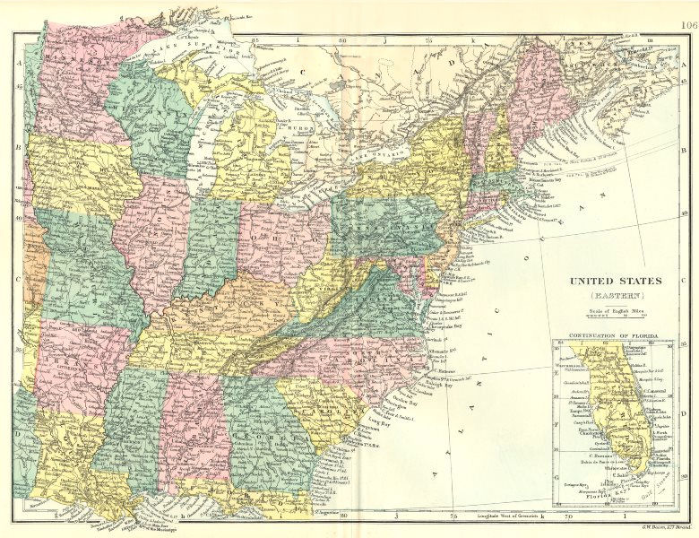 Associate Product USA. United States(Eastern). Bacon 1895 old antique vintage map plan chart