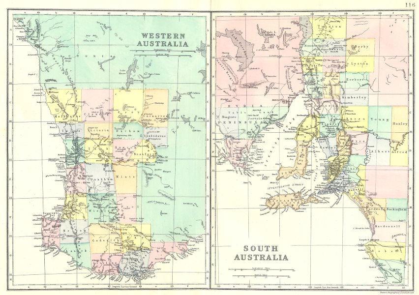 Associate Product AUSTRALIA. Western Australia; South Australia. Bacon 1895 old antique map