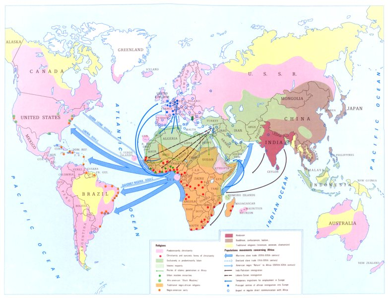 Associate Product AFRICA. Africa and the World. Religion migration 1973 old vintage map chart