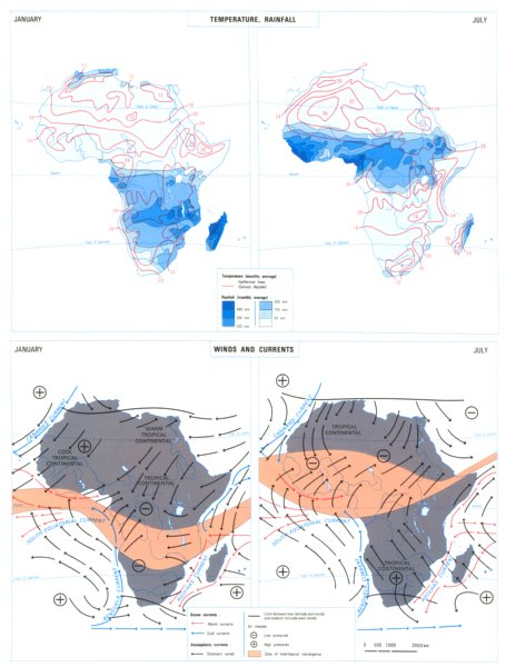 Associate Product AFRICA. Elements of climate; Temperature rainfall; Winds and currents 1973 map
