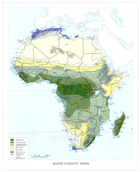 Associate Product AFRICA. climatic zones. Equatorial Tropical Desert Mediterranean  1973 old map