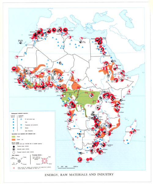 Associate Product AFRICA. Energy,Raw materials and industry 1973 old vintage map plan chart