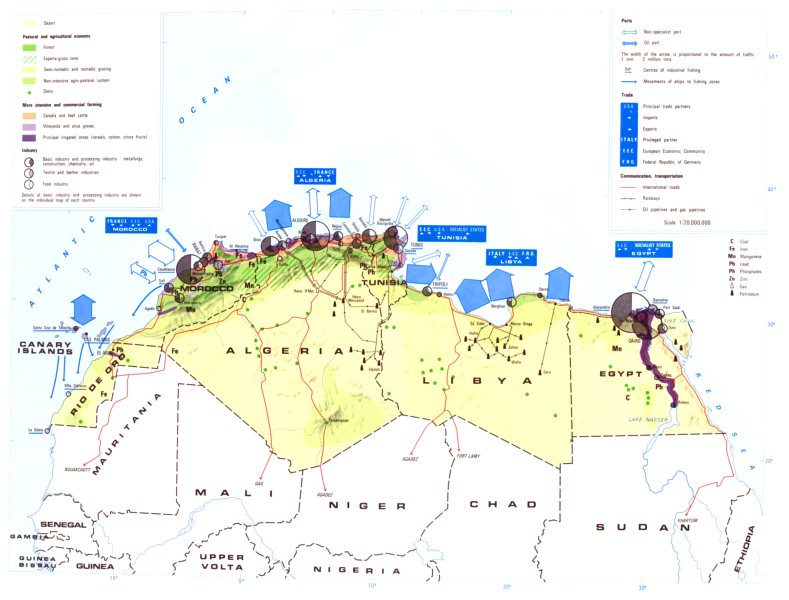 Associate Product NORTH AFRICA. Economy industry trade farming agriculture resources 1973 map