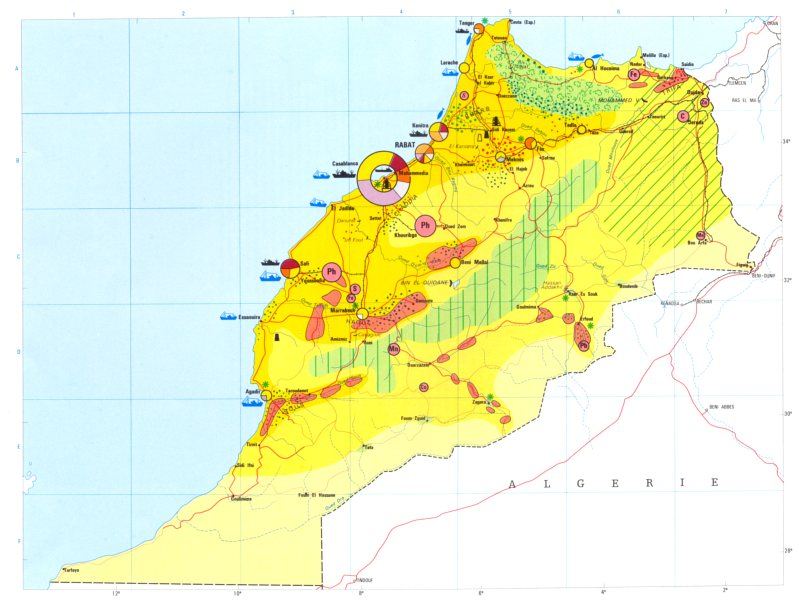 Associate Product MOROCCO. Economy industry trade farming agriculture resources 1973 old map