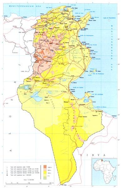 Associate Product TUNISIA. Tunisia; Republic of Tunisia 1973 old vintage map plan chart